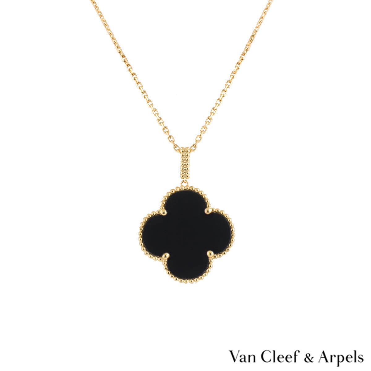 Van Cleef & Arpels Yellow Gold Onyx Magic Alhambra Necklace VCARO49M00